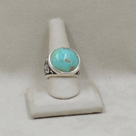Floral Round Ring with Kingman Turquoise 9X by JL McKinney