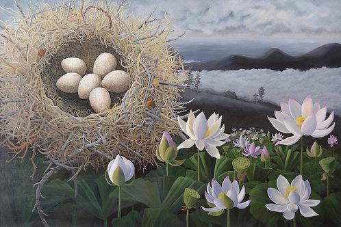 """Lotus Nest Logger Shrike"" by Liza Myers"