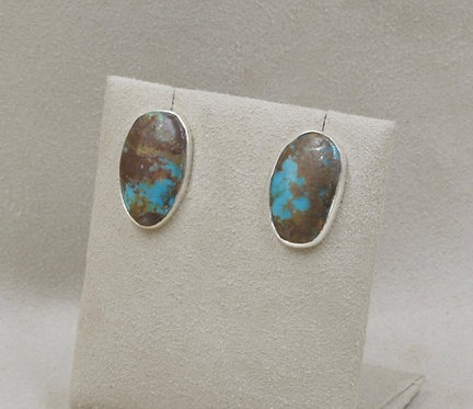 Boulder Turquoise Oval Earrings by Richard Lindsay