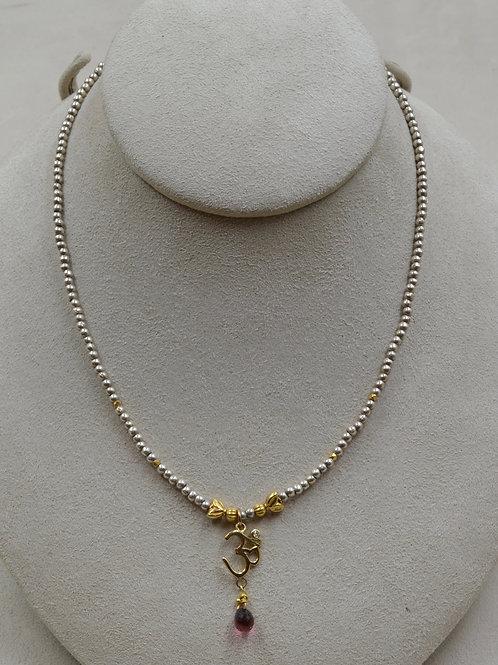 Gold Ohm w/ .03Cts Diamond, Tourmaline, 14k/22k Gold, SS Necklace by Joan Kallas