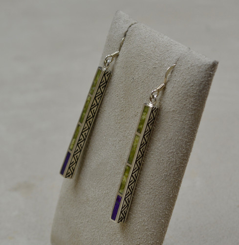828f9c041 Serpentine, Sugilite, & S. Silver Medium Dancing Stick Earrings by Lente