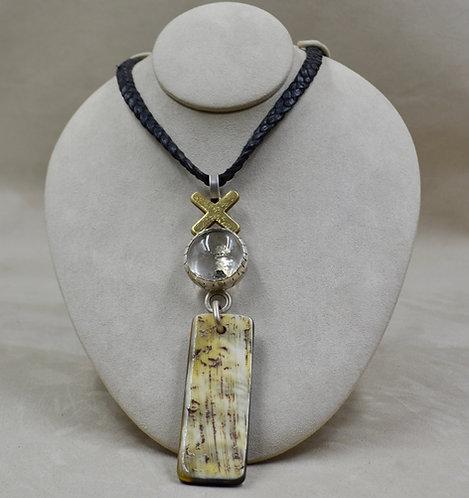 Water Buffalo, Bronze, Quartz on Leather Necklace by Melanie DeLuca