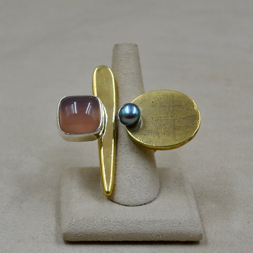 Brass, Chalcedony Pearls 8x Ring by Melanie DeLuca