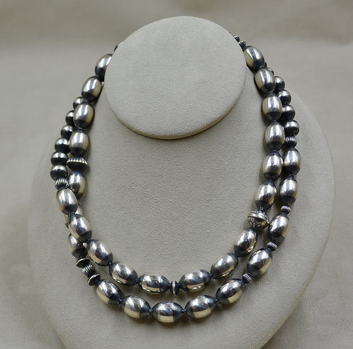 "Sterling Silver & Corrugated Beaded 35"" Necklace by Shoofly 505"