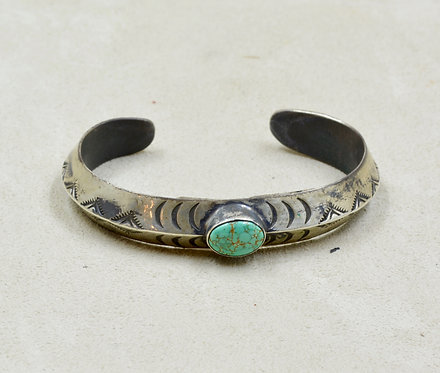 S. Silver Ingot Cuff w/ Stab Oval Carico Lake Turquoise by Red Rabbit Trading