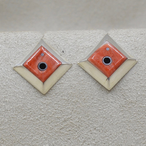Sterling Silver Square Post w/ Flat Inlay Earrings by Veronica Benally