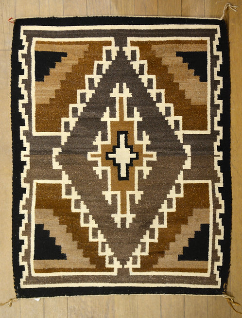 """Two Grey Hills, Vintage Navajo Weaving by Mary Shorty - 38"""" x 30"""""""