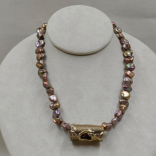 Baroque Bronze Freshwater Pearl Necklace by Richard Lindsay