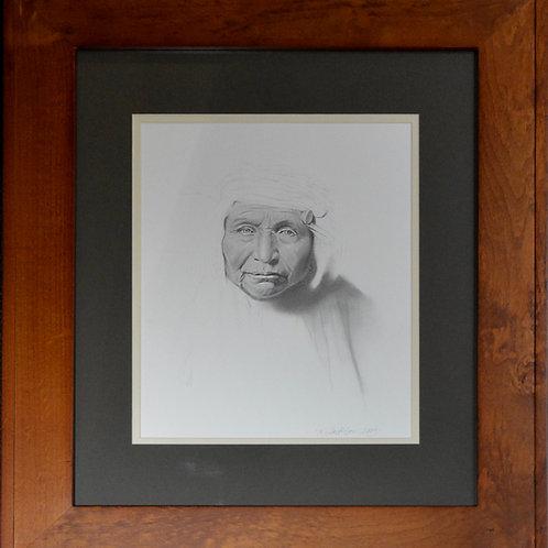 """In the Mist"" Original Framed Graphite - 25"" x 21"" - by Karen Clarkson"