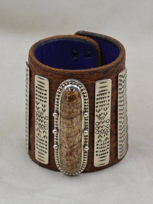 Ketoh, S. Silver, Peruvian Snakeskin Stone, Buffalo Hide Cuff by Melanie DeLuca