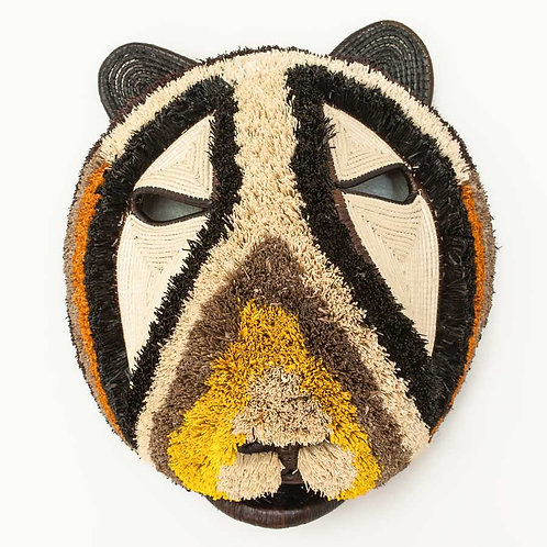 "Yellow Striped Bear Emberá Mask by Eloidita Chami - 13""W x 15""H"