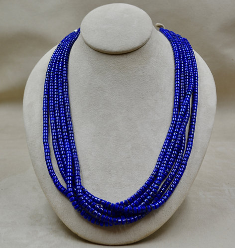 5 Strand Royal Lapis & Olive Shell Necklace by Kenneth Aguilar