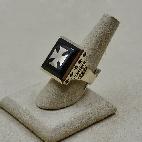 32 Sterling Silver Crosses and Onyx Inlay 8x Ring by JL McKinney