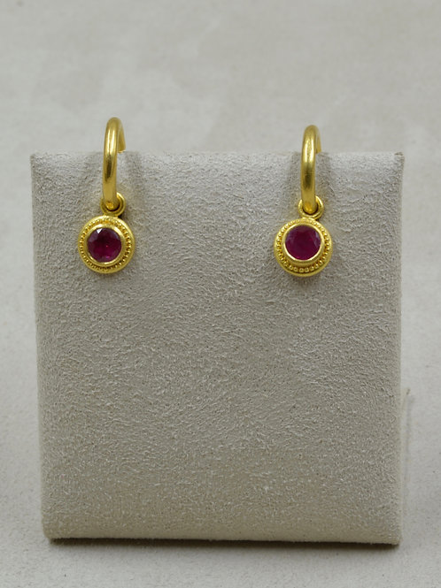 Granulated 22k Gold, Faceted Ruby Drops Only, 6mm 2.1 Cts by Pamela Farland