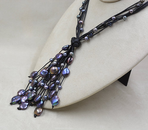 Cultured Freshwater Pearl Cluster on Black Leather by US Pearl Co.