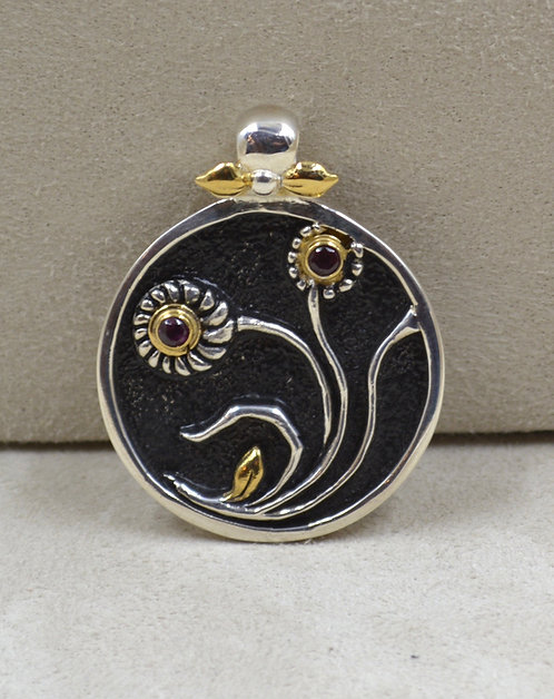 Sterling Silver Round Floral Pendant by Roulette 18
