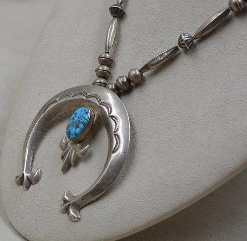 Vintage Navajo Sterling Silver Handmade Beads w/ Kingman Turquoise Naja