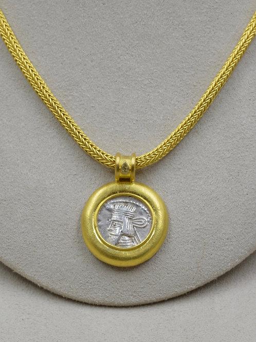 Parthian Silver Drachma w/ 20 & 22k Gold Pendant by Pamela Farland