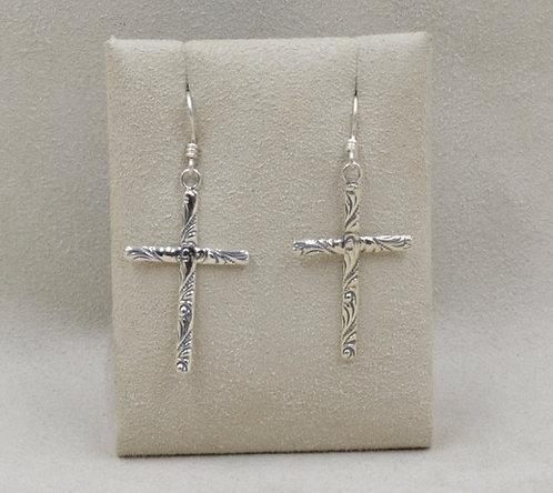 Sterling Silver Patterned Cross Earrings by Richard Lindsay