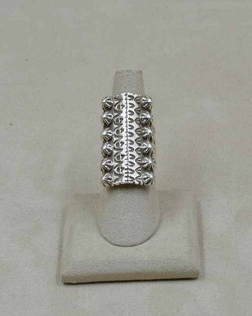 Sterling Silver Stamped Sahara Ring w/ 12 SS Shots 7x Ring by Melanie DeLuca