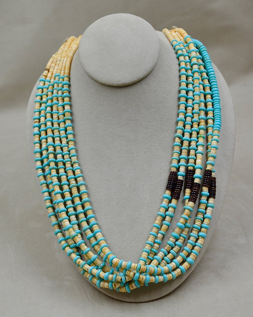 Melon Shell, Sleeping Beauty Turquoise, Olive Shell Necklace by Crucita Tenorio