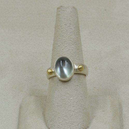 18k Gold, Moonstone, and Sterling Siler 6.5x Ring by Joe Glover
