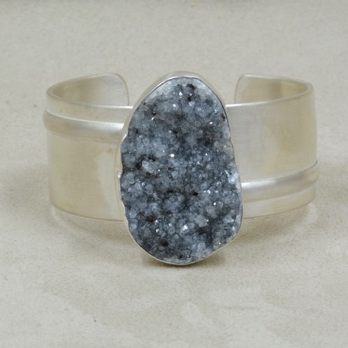 Argentium Silver & Large Druzy Cuff by Michele McMillan
