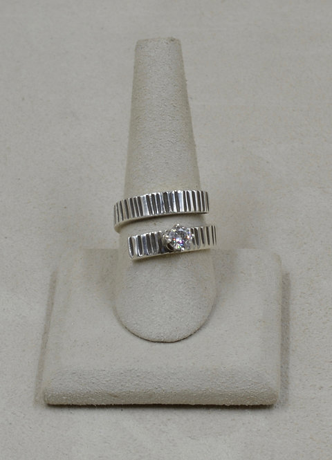 Sterling Silver Wrap w/ Moissonite 7x Ring by Jacqueline Gala