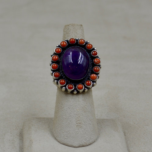 Coral and Amethyst Sterling Silver 6.5x Ring by Herbert Ration
