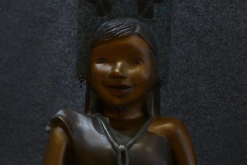 Bronze Sculpture - Girl/Tabletta/Bowl by Kathleen Wall, Jemez Pueblo