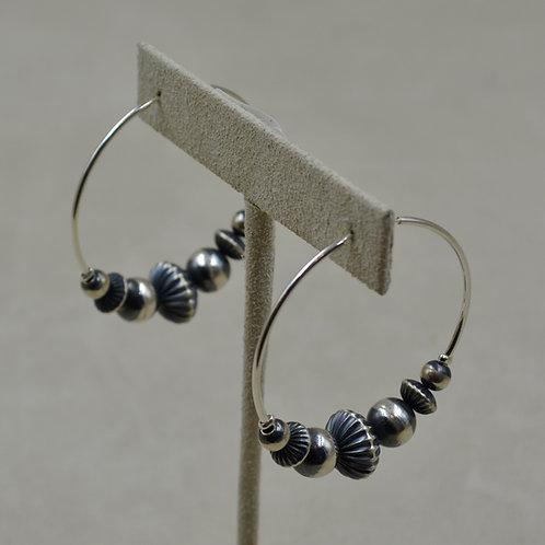 Large Silver Corrugated Hoop Earrings by Shoofly 505