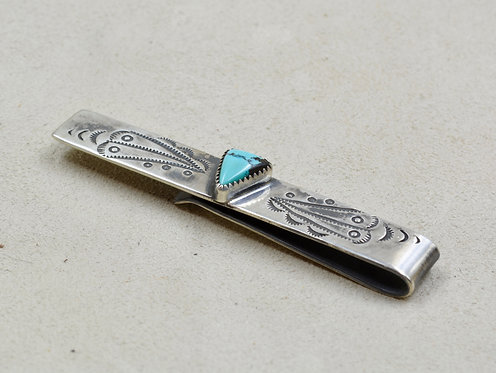 Sterling Silver Stamped Tie Clip w/ Chinese Turquoise by Red Rabbit Trading