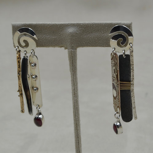 Desert Chimes, S. Silver, Mokume, Brass & Granite Earrings by Richard Lindsay