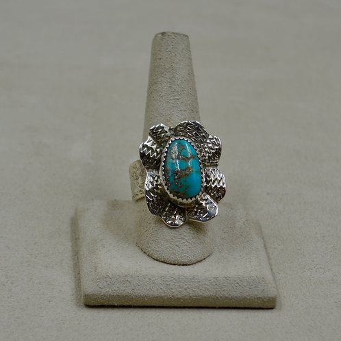 Morenci Turquoise in Flower Setting Adj. Size, S. Silver Ring by James Saunders