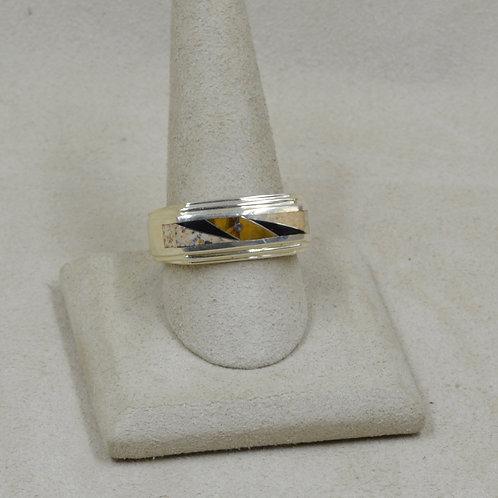 Ethnic Square Top, Black Jade, Tigereye, Jasper, SS 12.5x Ring by GL Miller