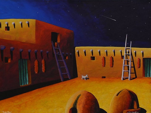"""""""Pueblo Plaza"""" by David Gary Suazo, Taos Pueblo"""