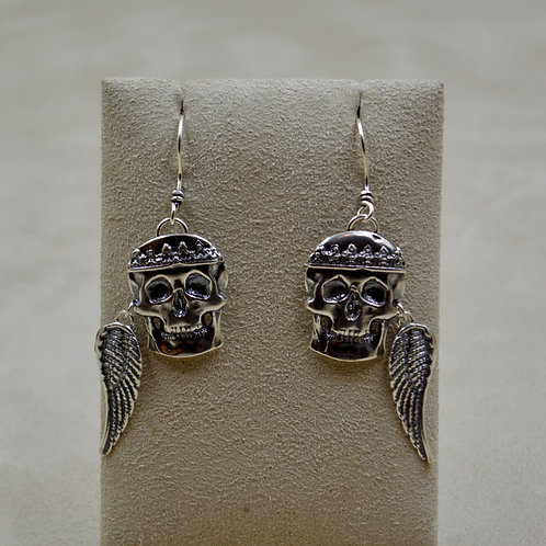 Sterling Silver Skulls with Wing Earrings by Michele McMillan