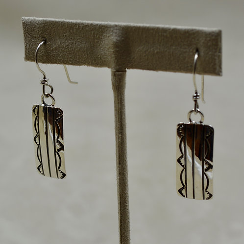 Sterling Silver Stamped Tab Wire Earrings by Cheryl Arviso