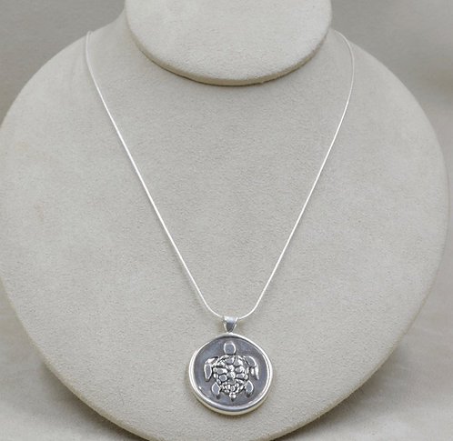 Sterling Silver Cast Turtle Pendant by Michele McMillan