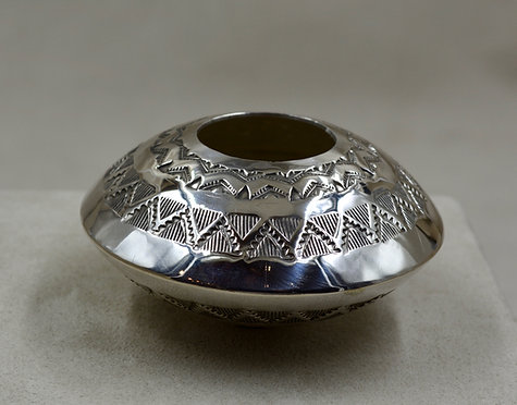 Sterling Silver Stamped Handmade Seed Pot by Leonard Nez