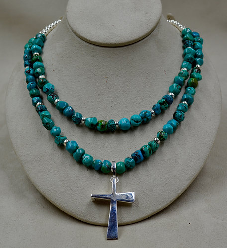 Turquoise 2 Strand Removable Necklace w/ SS Trinity Cross by Sippecan Designs