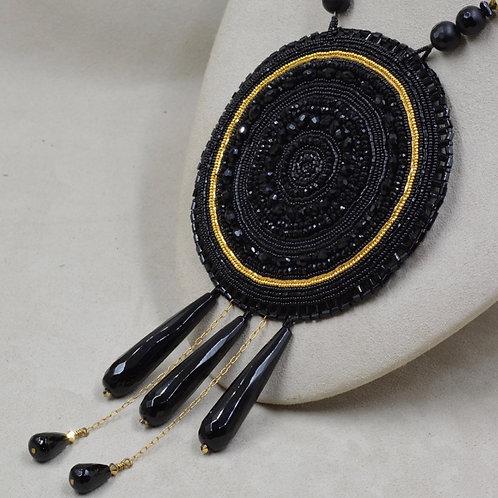 Black Medallion w/ Onyx, Crystal, Black Diamonds & Leather by Hollis Chitto