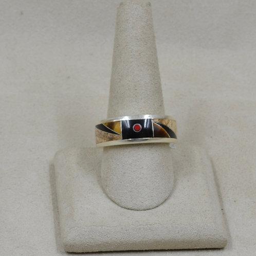 Ethnic w/ Red Lab Opal, Tigereye, Black Jade, & SS 10x Ring by GL Miller Studio