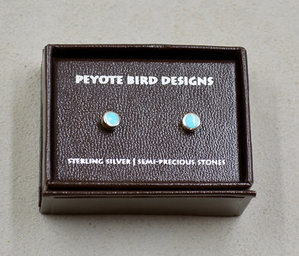 Mini Sleeping Beauty Turquoise S. Silver Stud Earrings by Peyote Bird Designs