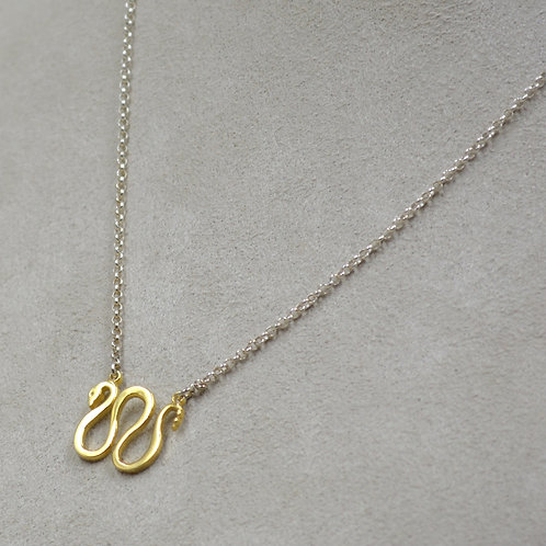 Sterling Silver 18k Plate Snake Necklace by Roulette 18