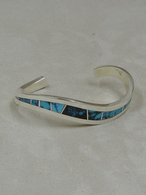SS Wave Cuff w/ Natural Sleeping Beauty Turquoise Inlay by Tim Busch