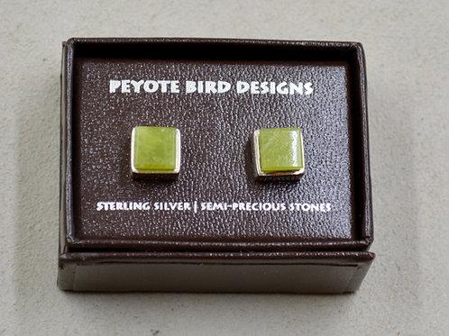 3-D Large Square Serpentine Post Earrings by Peyote Bird Designs