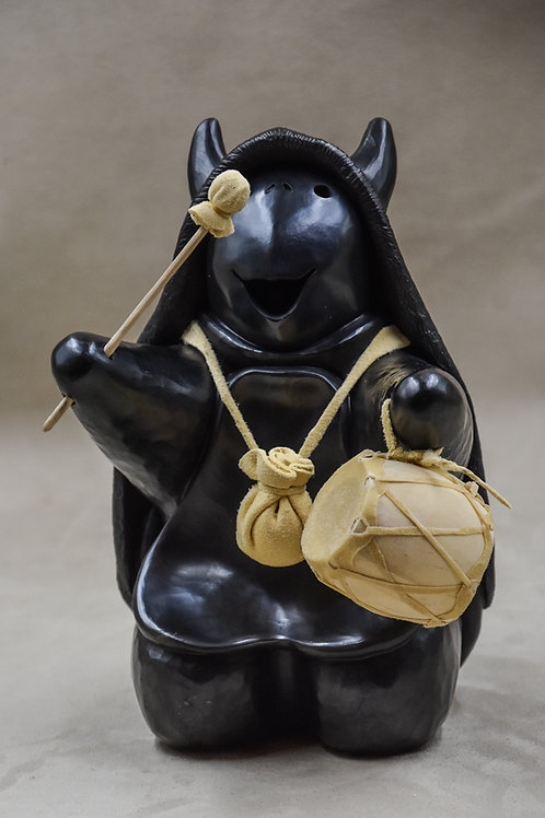 Medium Black Turtle Drummer w/ Buffalo Hide by Randy Chitto
