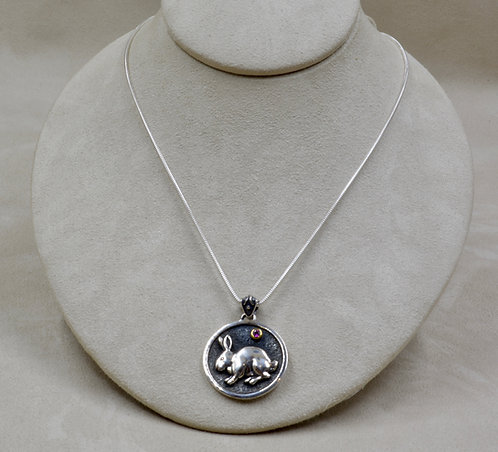 Sterling Silver Bunny w/ Rhodolite Garnet Pendant by Roulette 18