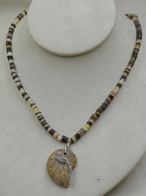 Sliced Ammonite on Pen Shell Beads Necklace by Joe Glover